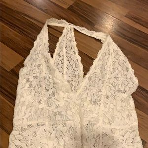 White lace free people body suit